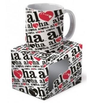 Mug  Heart of Hawai'i Black Red 12cm