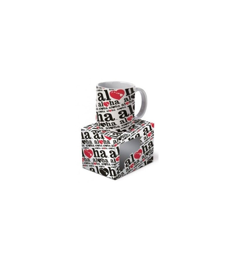 Mug  Heart of Hawai'i Black Red 12cm