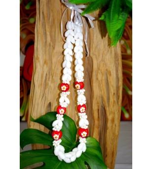 Collier Coquillages Bubbles Kukui nut Fleurs D'hibicus Blanche Jaune 40 cm