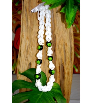 Collier Coquillages Bubbles Kukui nut  Fleurs D'hibicus Vert 40 cm