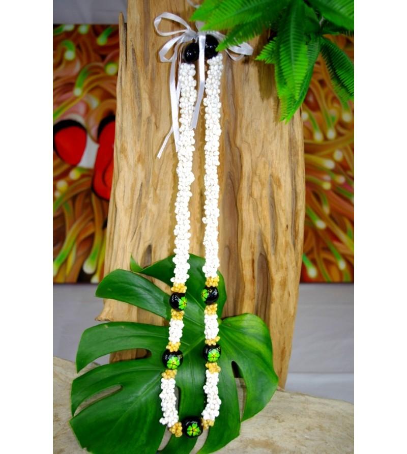 Collier Mini Coquillages Kukui nut  Fleurs D'hibicus Vert 40 cm