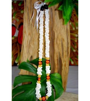Collier Mini Coquillages Kukui nut  Fleurs D'hibicus Orange 40 cm
