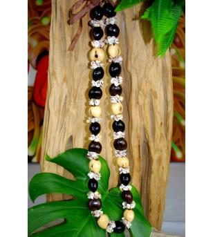 Collier Coquillages Kukui nut Noir Beige 40 cm