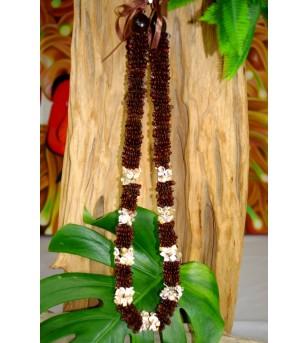 Collier Coquillages Conus Graines Chocolat 40 cm