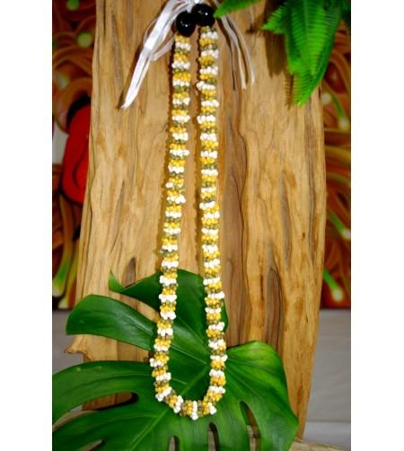 Collier Mini Coquillages Vert Blanc Jaune Kukui nut 40 cm