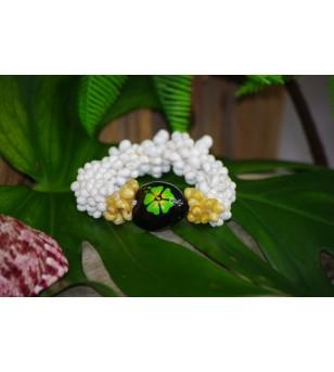 Bracelet Mini Coquillages Blanc Vert Kukui Nut Noir Hibiscus Vert