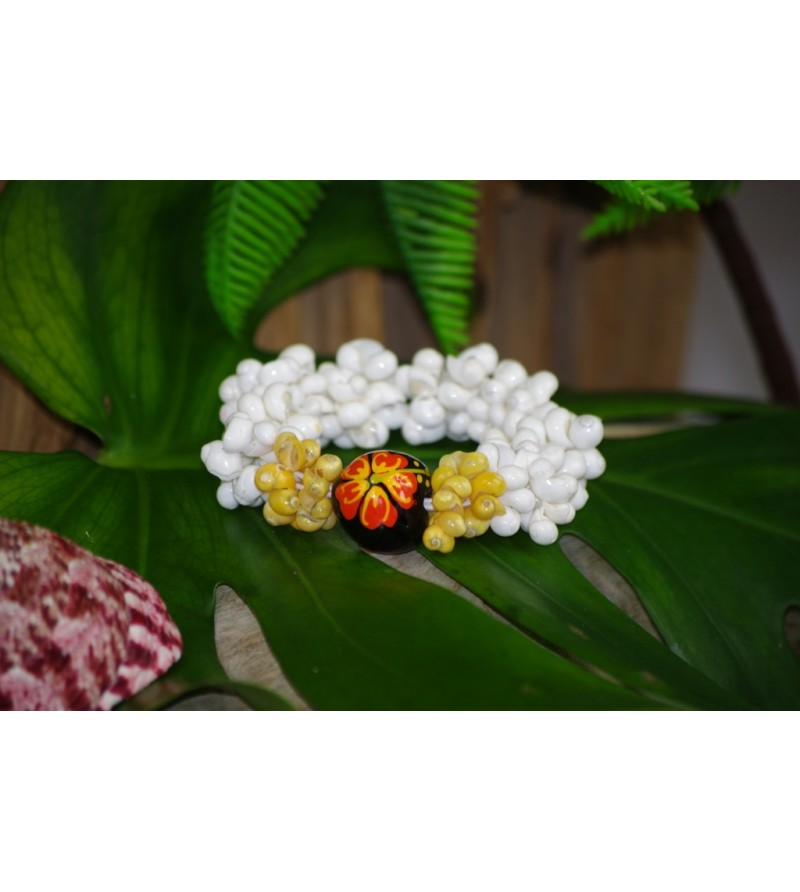 Bracelet Mini Coquillages Blanc Vert Kukui Nut Noir Hibiscus Orange
