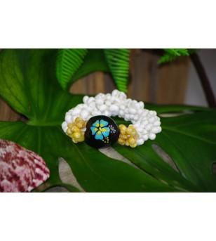 Bracelet Mini Coquillages Blanc Vert Kukui Nut Noir Hibiscus Bleu