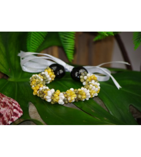 Bracelet Mini Coquillages Blanc Vert Jaune Kukui Nut Noir