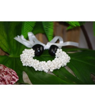 Bracelet Mini Coquillages Blanc Kukui Nut Noir