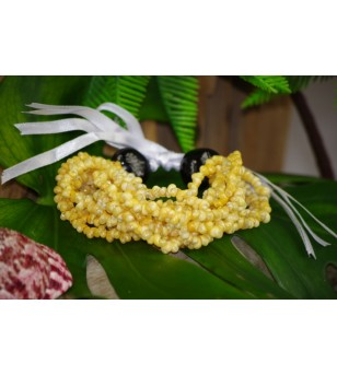 Bracelet Mini Coquillages Jaune Kukui Nut Noir