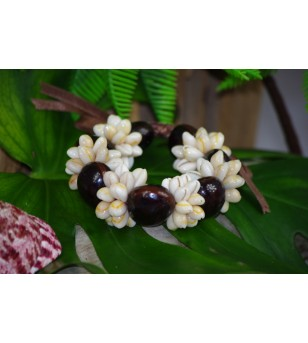 Bracelet Coquillages Cori Beige Kukui Nut Chocolat