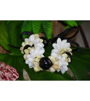 Bracelet Coquillages Bubbles Burgo Kukui Nut Noir