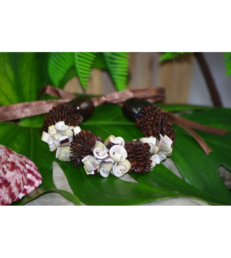 Bracelet Coquillages Conus Graine Chocolat Kukui Nut Noir