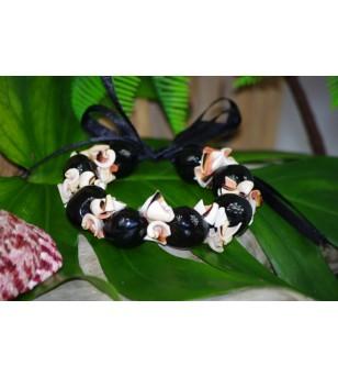 Bracelet Coquillages Conus Kukui Nut Noir