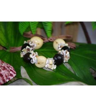 Bracelet Coquillages Conus Kukui Nut Beige Noir