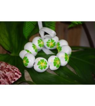 Bracelet Kukui Nut Blanc Fleurs d'Hibicus Verte