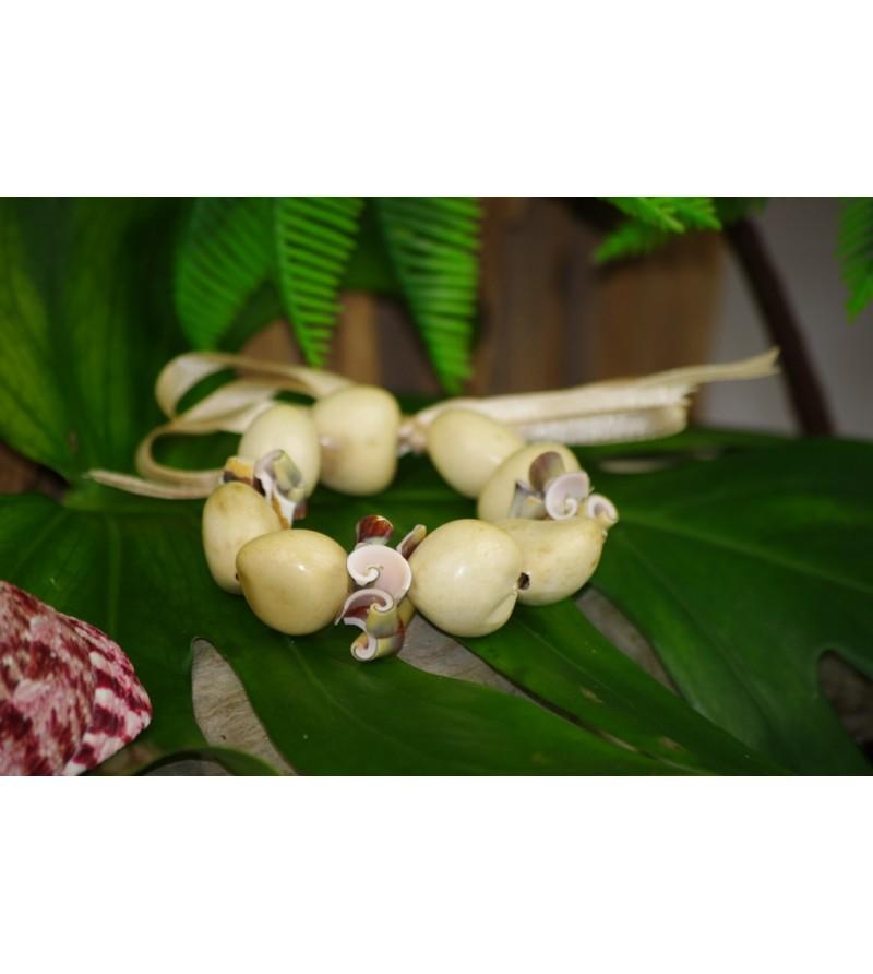 Bracelet Coquillages Conus Kukui Nut Beige