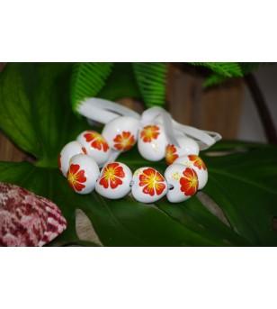 Bracelet Kukui Nut Blanc Fleurs d'Hibicus Orange