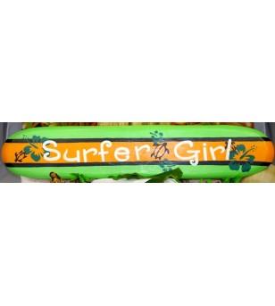 Planche longboard Bois D'albisia Surfer Girl Verte Orange 100X25