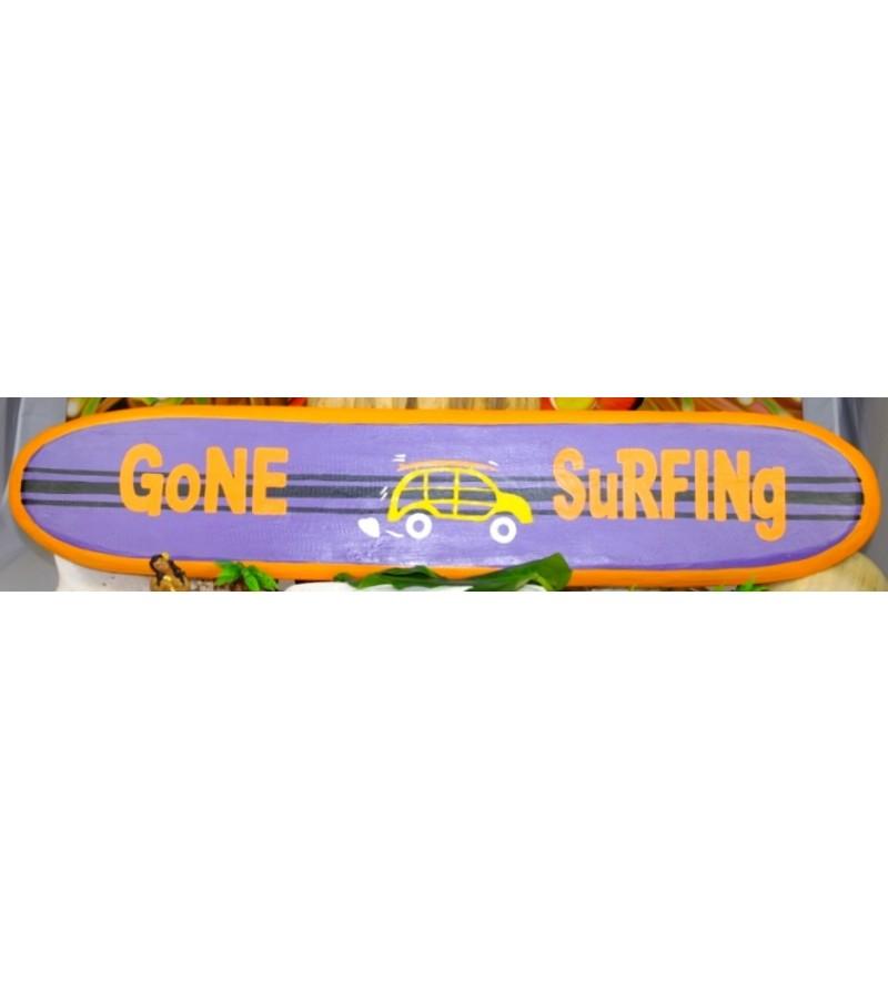 Planche longboard Bois D'albisia Gone Surfing Orange Violet 100X25