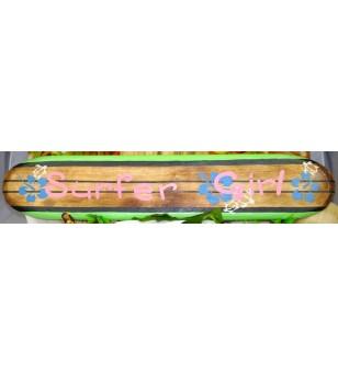 Planche longboard Bois D'albisia Surfer Girl Rose Vert 100X25