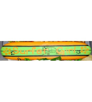 Planche longboard Bois D'albisia Surfer Girl Orange Vert 100X25
