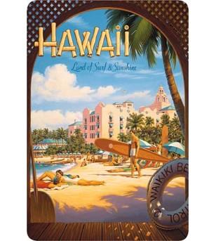 Carte Postale Hawaii, Land of Surf & Sunshine Bord Rond 14.5x10 cm