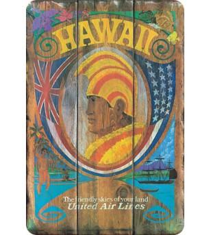Carte Postale Hawaii United Air Lines Bord Rond 14.5x10 cm