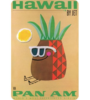 Carte Postale Hawaii by Jet - Pineapple Head Bord Rond 14.5x10 cm