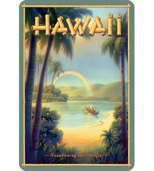 Carte Postale Rainbow/ Pacific Hawaii Bord Rond 14.5x10 cm
