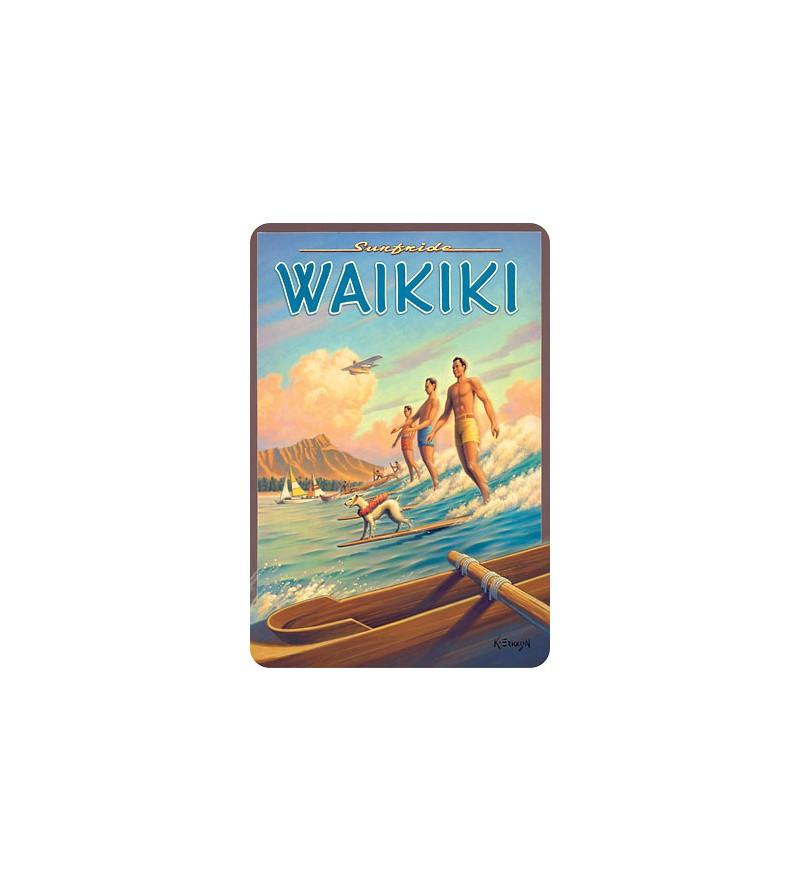 Carte Postale Surfrider Waikiki Bord Rond 14.5x10 cm
