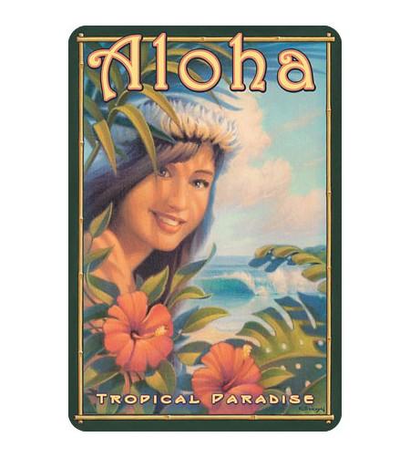 Carte Postale Aloha Tropical Paradise Bord Rond 14.5x10 cm