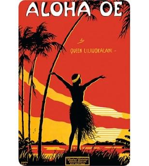 Carte Postale Aloha Oe Palmer Bord Rond 14.5x10 cm