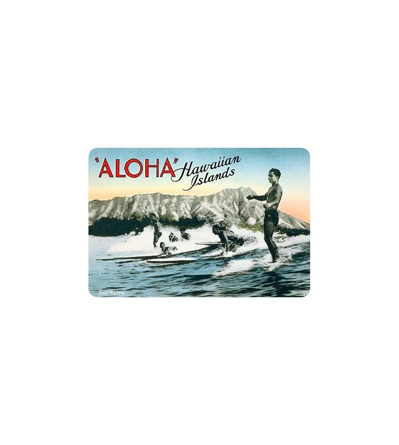 Carte Postale Surf Riders Waikiki Bord Rond 14.5x10 cm