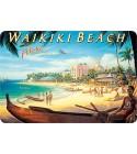 Carte Postale Waikiki Beach Bord Rond 14.5x10 cm