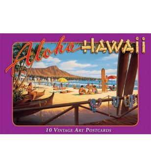 Boite 10 Cartes Postales Aloha Hawaii 14.5x10 cm