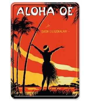 Carte Postale Plaque Metallique Aloha OE Bord Rond 17.5x12.5 cm
