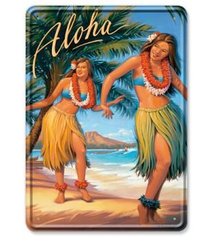 Carte Postale Plaque Metallique Aloha Bord Rond 17.5x12.5 cm