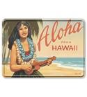 Carte Postale Plaque Metallique Aloha Moonrise Bord Rond 17.5x12.5 cm