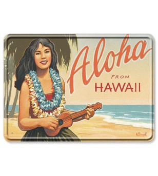 Carte Postale Plaque Metallique Aloha Moonrise Bord Rond 17.5x12.5 cm