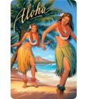 Carte Postale Aloha Vahiné Bord Rond 14.5x10 cm