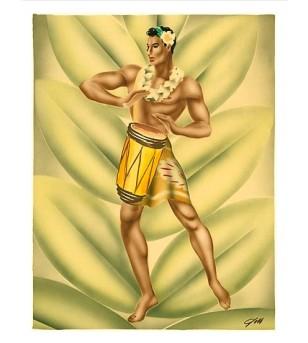 Poster Art Hawaiian Hula Drummer, c  Numériser Haute qualité 28x35 cm