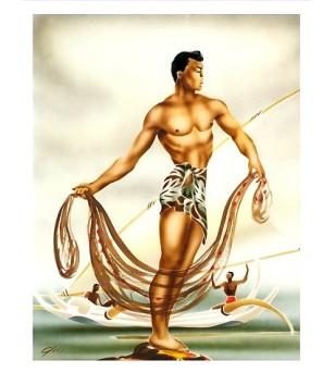 Poster Art Hawaiian Net Fisherman, Numériser Haute qualité 28x35 cm