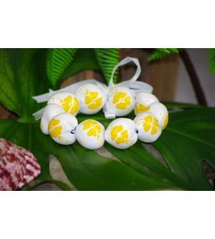 Bracelet Kukui Nut Blanc Fleurs d'Hibicus Jaune