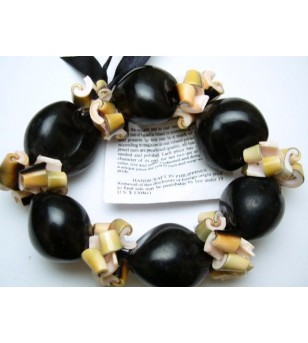 Bracelet Coquillage Kukui Nut Graine
