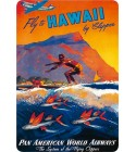 Carte Postale Fly To Hawaii Bord Rond 14.5x10 cm
