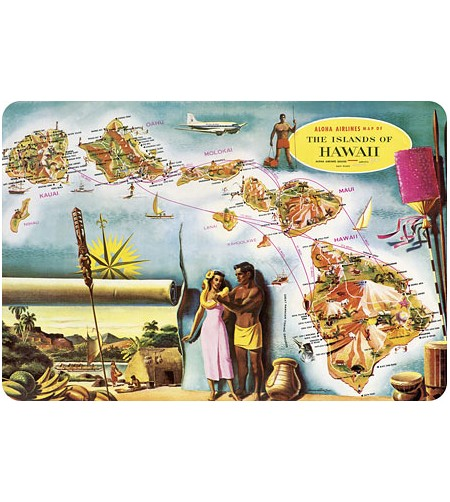 Carte Postale Map of the Hawaiian Islands Bord Rond 14.5x10 cm