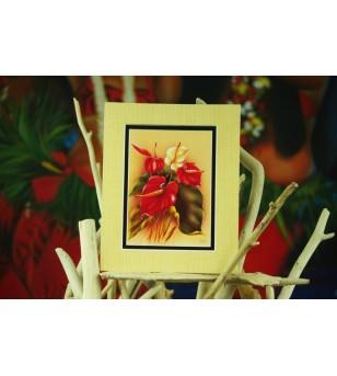 Cadre Déco Red&White Anthuriums Fibre Naturelle 20X25 cm
