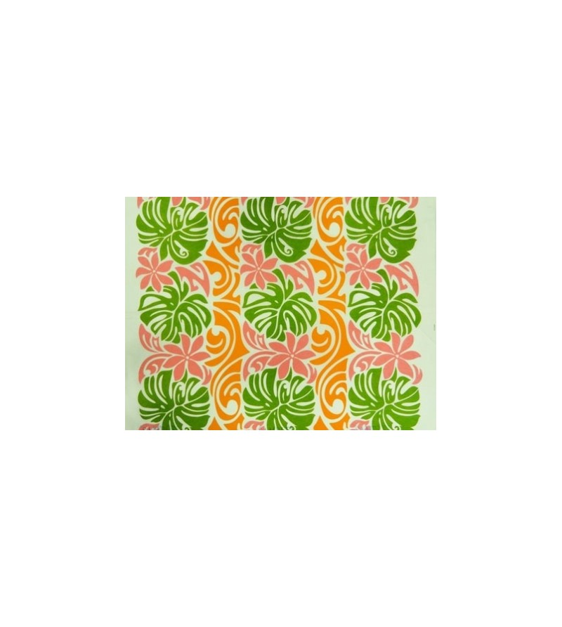 tissu au m tre monstera tiar rose vert orange 65 polyester 35 cotton largeur 110 cm. Black Bedroom Furniture Sets. Home Design Ideas